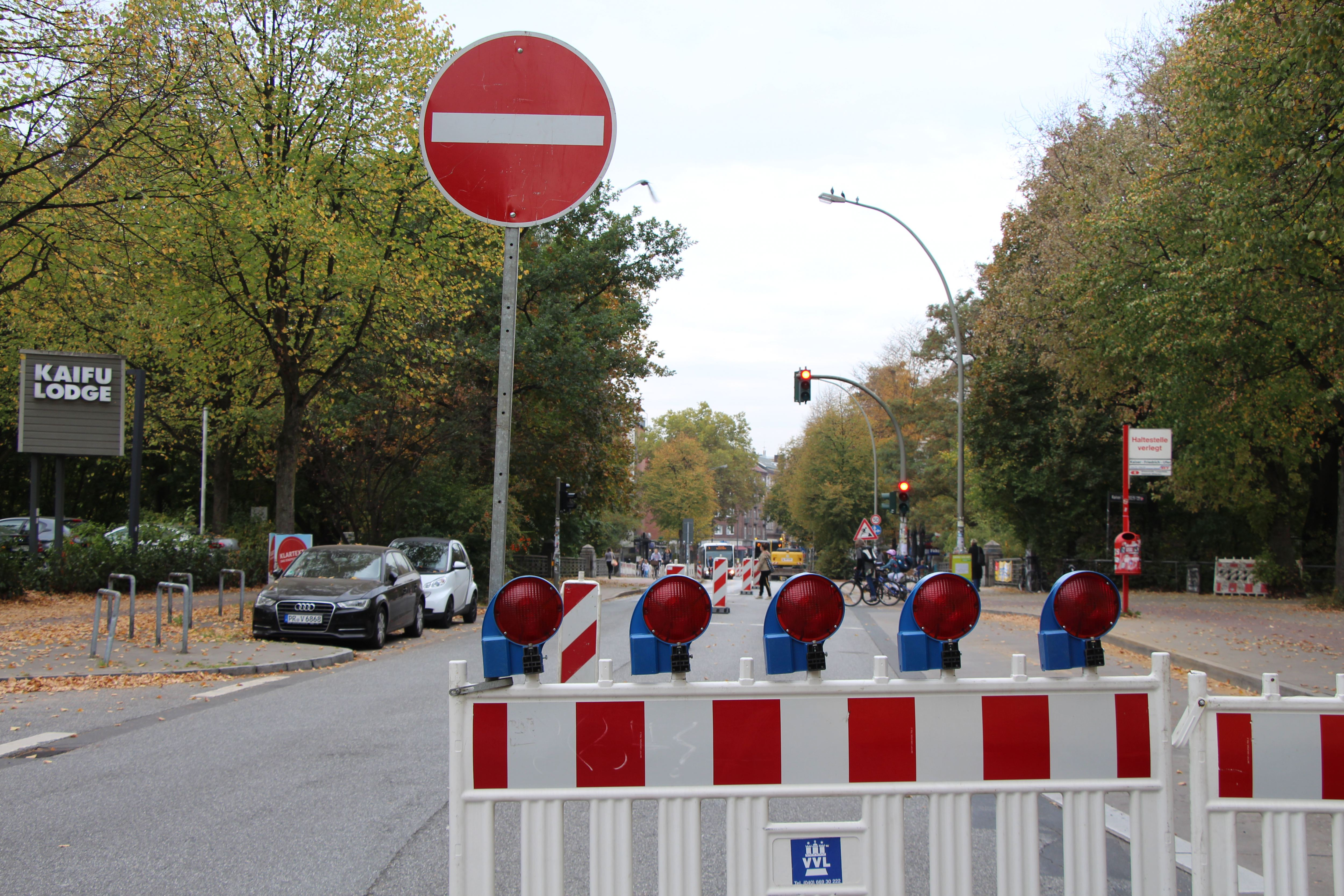 Bauarbeiten am Übergang Bundesstraße zur Osterstraße