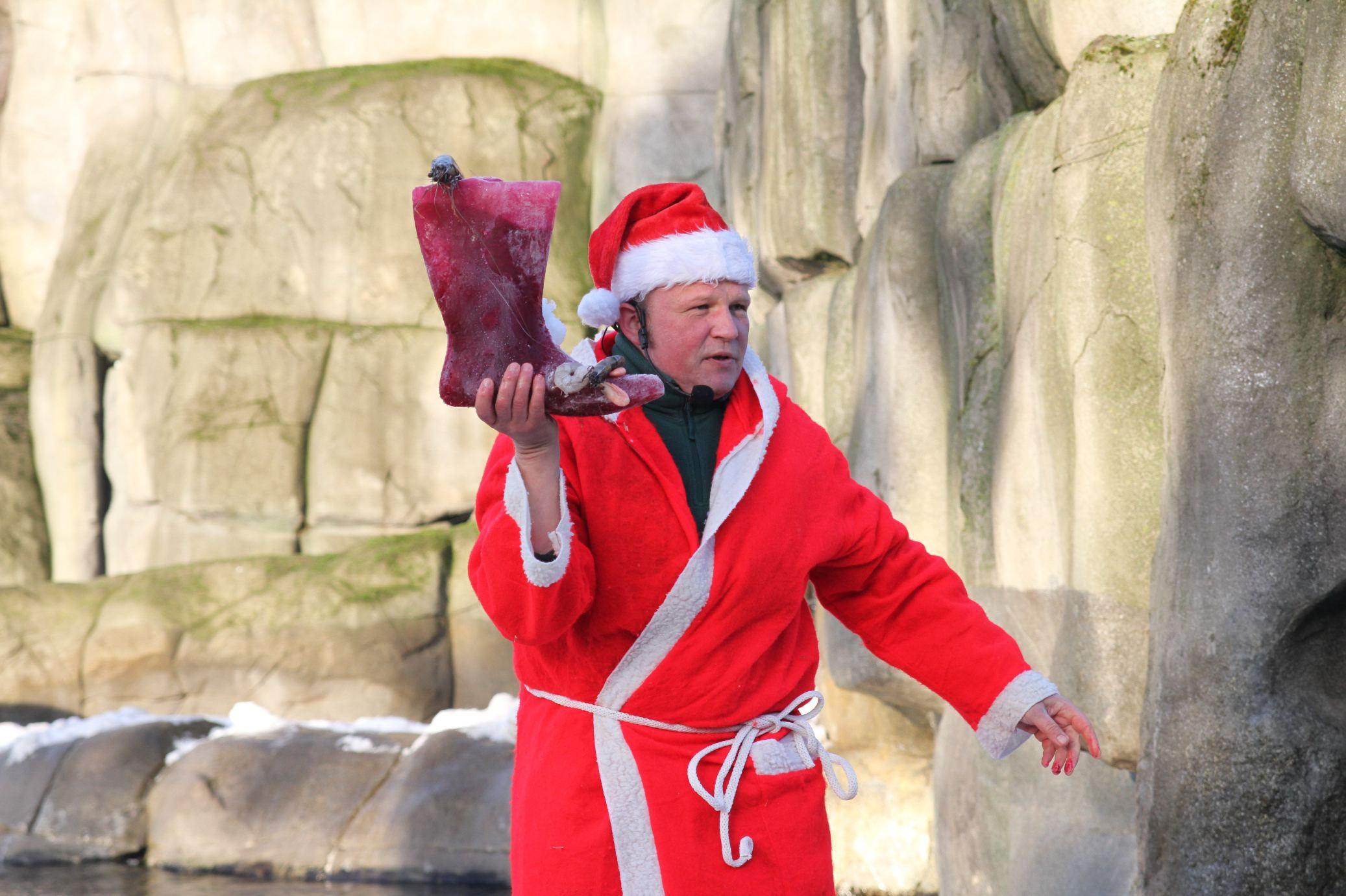 Mhh lecker, ein Stiefel aus Eis. Foto: Tierpark Hagenbeck
