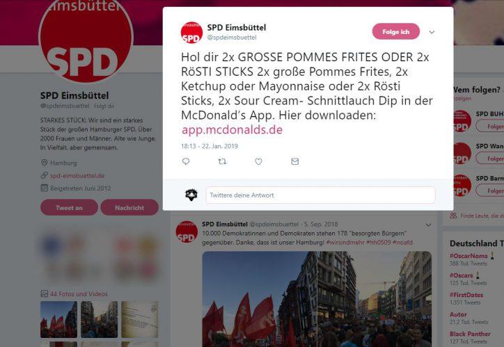 Twitter-Account der SPD Eimsbüttel für McDonalds-Werbung gekapert