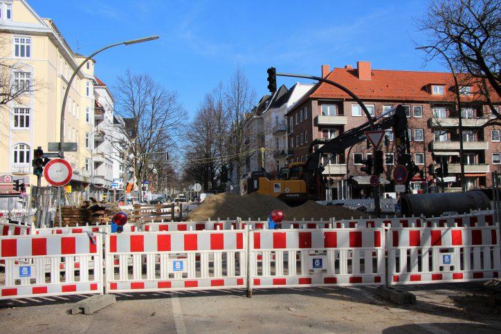 Baustelle an der Kreuzung Mansteinstraße, Bismarckstraße. Foto: Anna Korf