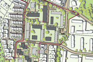 Ein Ausschnitt aus dem Planentwurf. Die hellgrauen Vierecke symbolisieren bestehende Gebäude, die Dunkelgrauen geplante Gebäude. Quelle: WRS Architekten & Stadtplaner auf Kartengrundlage: ALKIS