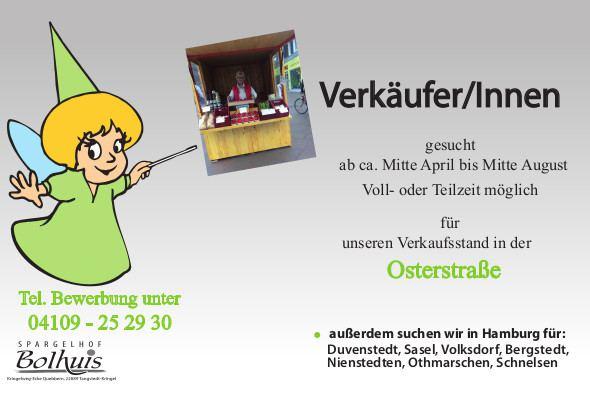 Spargelhof Bolhuis sucht Verkäufer/innen in Voll- und Teilzeit