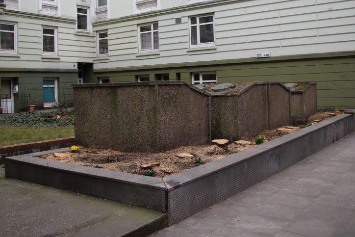 Akelius hat in der Wrangelstraße Bäume fällen lassen. Foto: Anna Korf