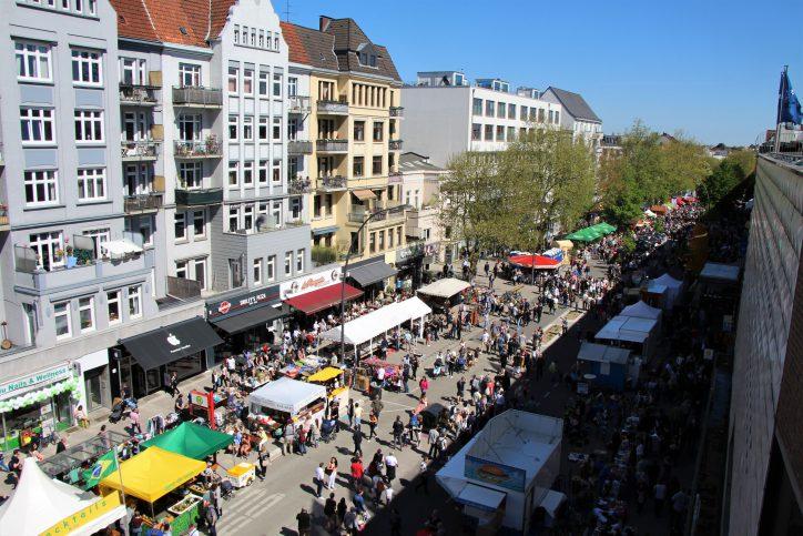 Ansicht von oben: Das Osterstraßenfest 2018. Foto: Vanessa Leitschuh