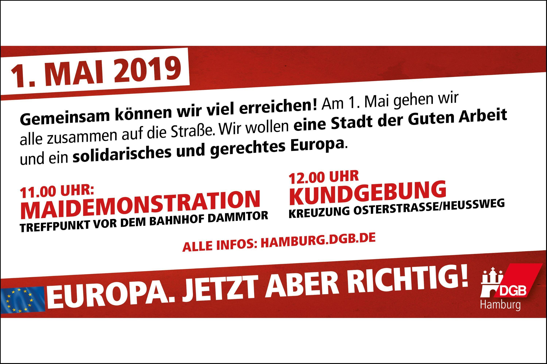 1. Mai Demo in Eimsbüttel. Foto: DGB Hamburg