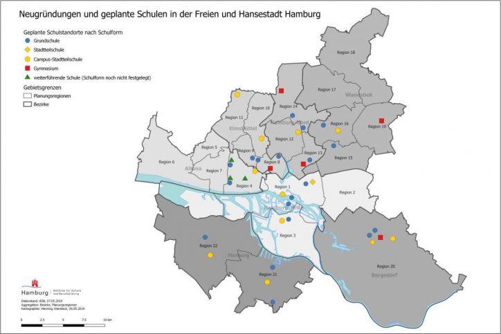 Wo sollen in Eimsbüttel neue Schulen entstehen? Quelle: Schulbehörde