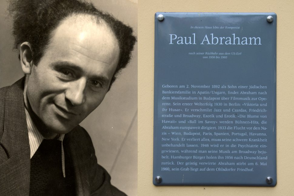 Dichter Arie Goral, Gedenktafel Paul Abraham. Fotos: Thea-Siedler-Prinz; Archiv: Michael K. Nathan, Hamburg/Sahra Vittinghoff