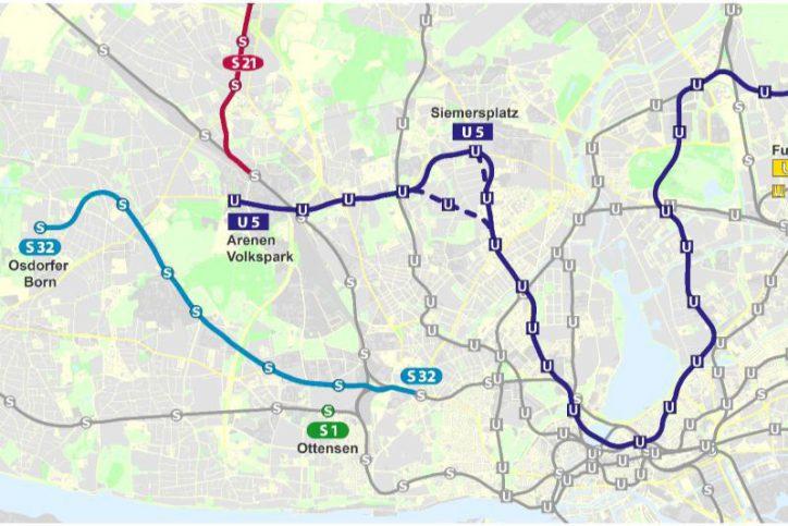 Die Machbarkeitsstudie sieht einen neuen Streckenverlauf der U5 und der S32 vor. Foto: BWVI