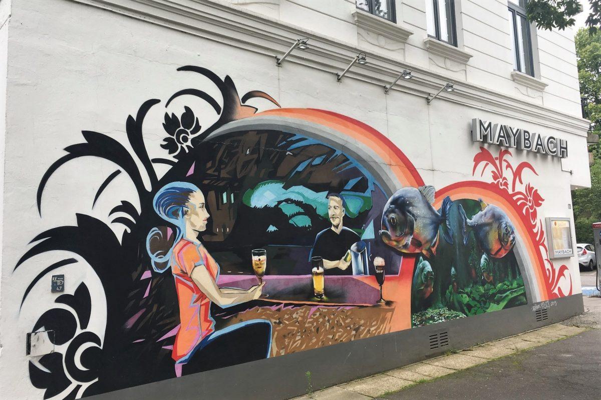 Das Graffiti von Elmar Lause zierte diese Wand im Heußweg 20 Jahre lang. Foto: Christian Möhlenhof