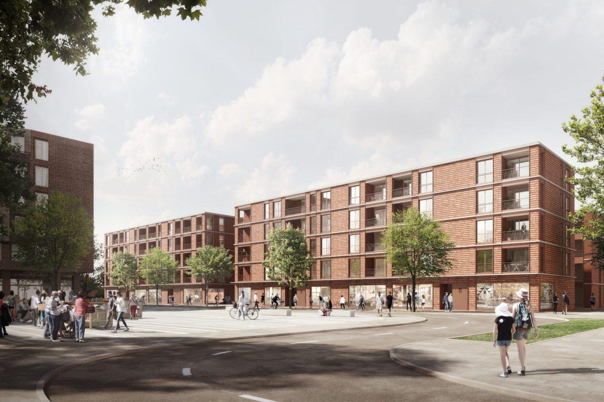 Sportplatzring Stellingen: Stellinger Markt. Foto: Architekten: kbnk ARCHITEKTEN GMBH, Hamburg / Visualisierung: PONNIE Images, Hamburg