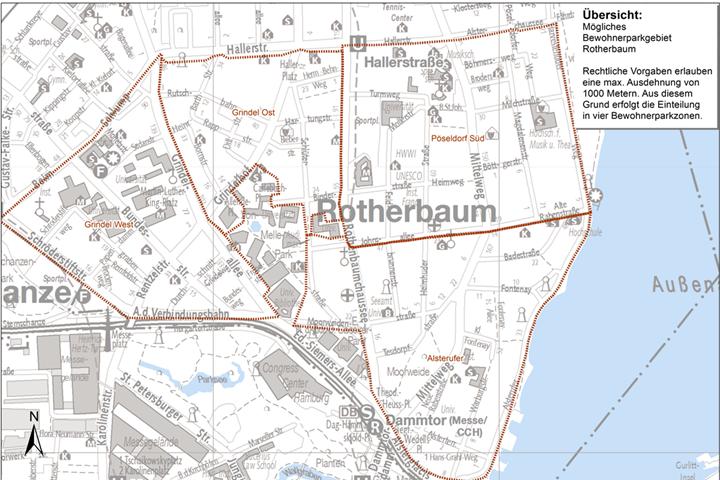 Eine Einteilung in diese vier Bewohnerparkzonen wäre möglich. Foto: LBV.