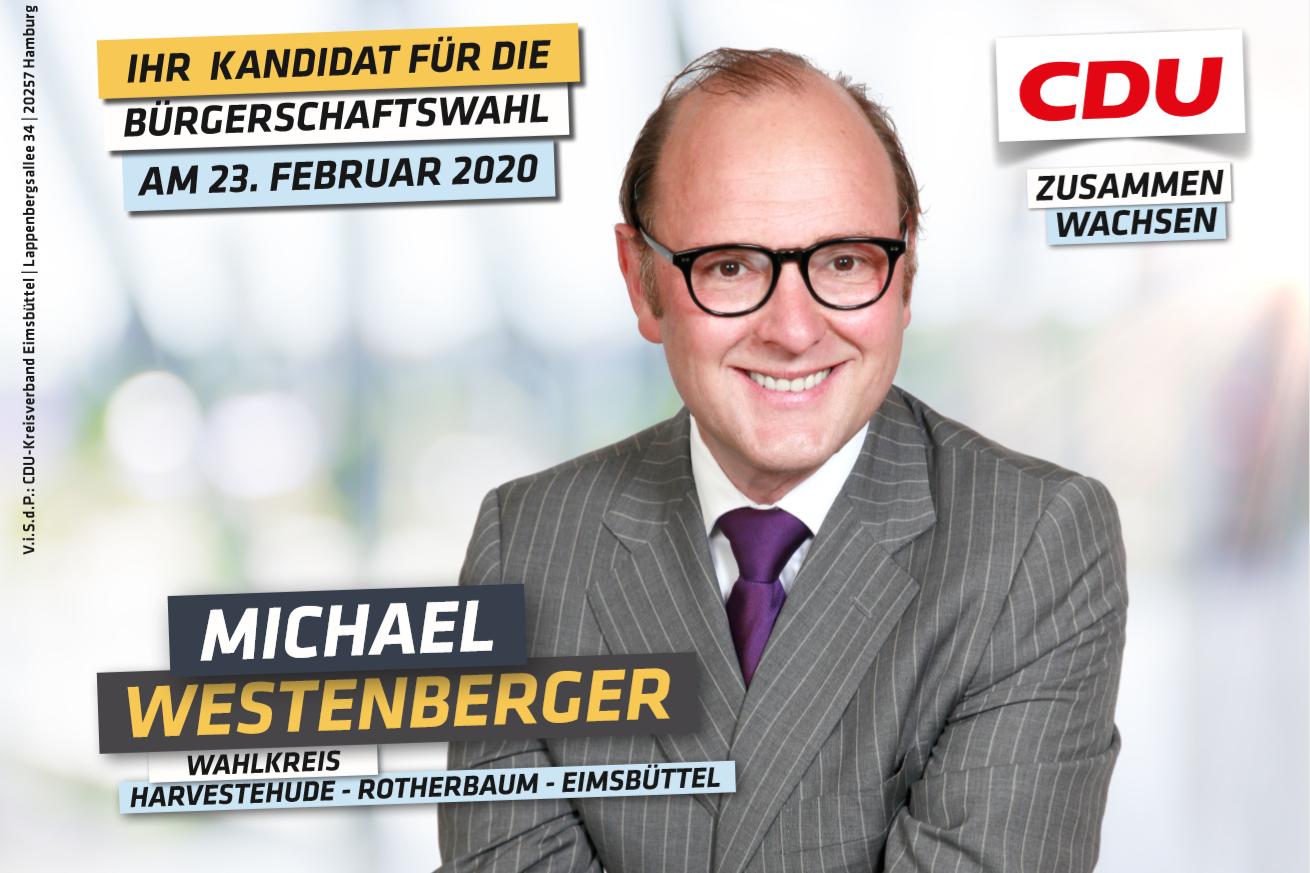 Der Politiker Michael Westenberger ist der Spitzenkandidat der CDU im Wahlkreis Harvestehude - Rotherbaum - Eimsbüttel Ost. Foto: CDU Eimsbüttel