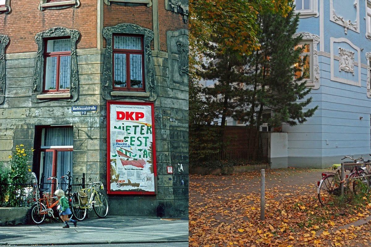Zeitsprung in der Methfessestraße 1 bis 3. Die Jahre 1983 und 2017. Foto: Hans-Ole Kuschmann