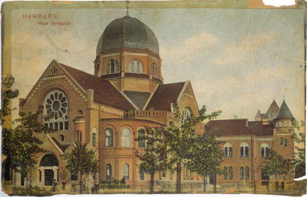 Postkarte der Bornplatzsynagoge, 1906 bis 1939, heute Joseph-Carlebach-Platz im Grindelviertel