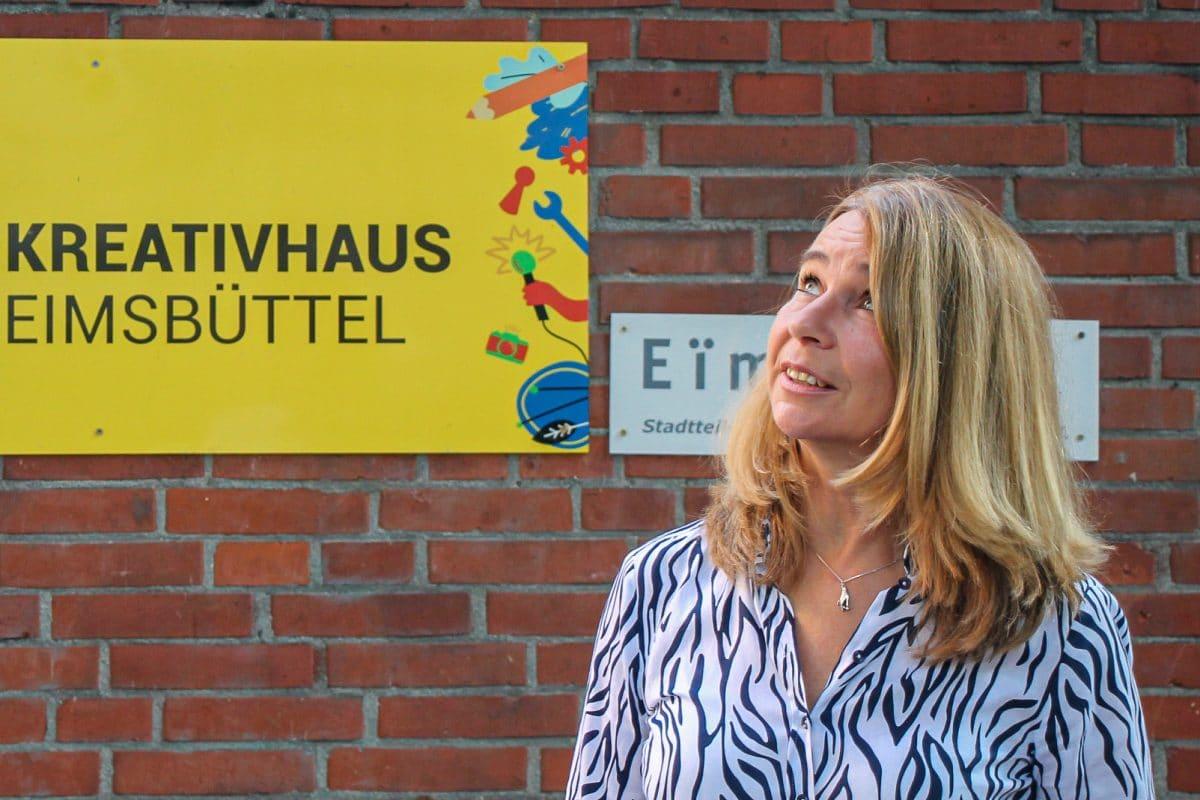 Arlette Andrae vor dem Kreativhaus Eimsbüttel.