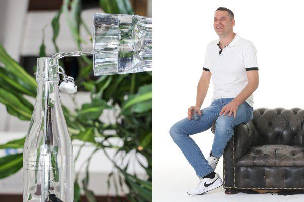 """Über """"The Local Water"""" vermarktet """"The Positive Business Company"""" Wasserfilter, elegant designte Glasflaschen und sogenannte """"Superblobs"""" – Tropfen aus natürlichem, hochkonzentriertem Kurkumaextrakt, die Geschmack und Pepp in das transparente Lebenselixier bringen sollen."""