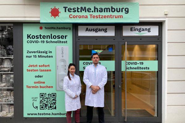Der TestMe Standort Osterstr. 20, 20259 Hamburg mit der ärztlichen Leitung Dr.med Nora Bilir und Frederik Brockmann.