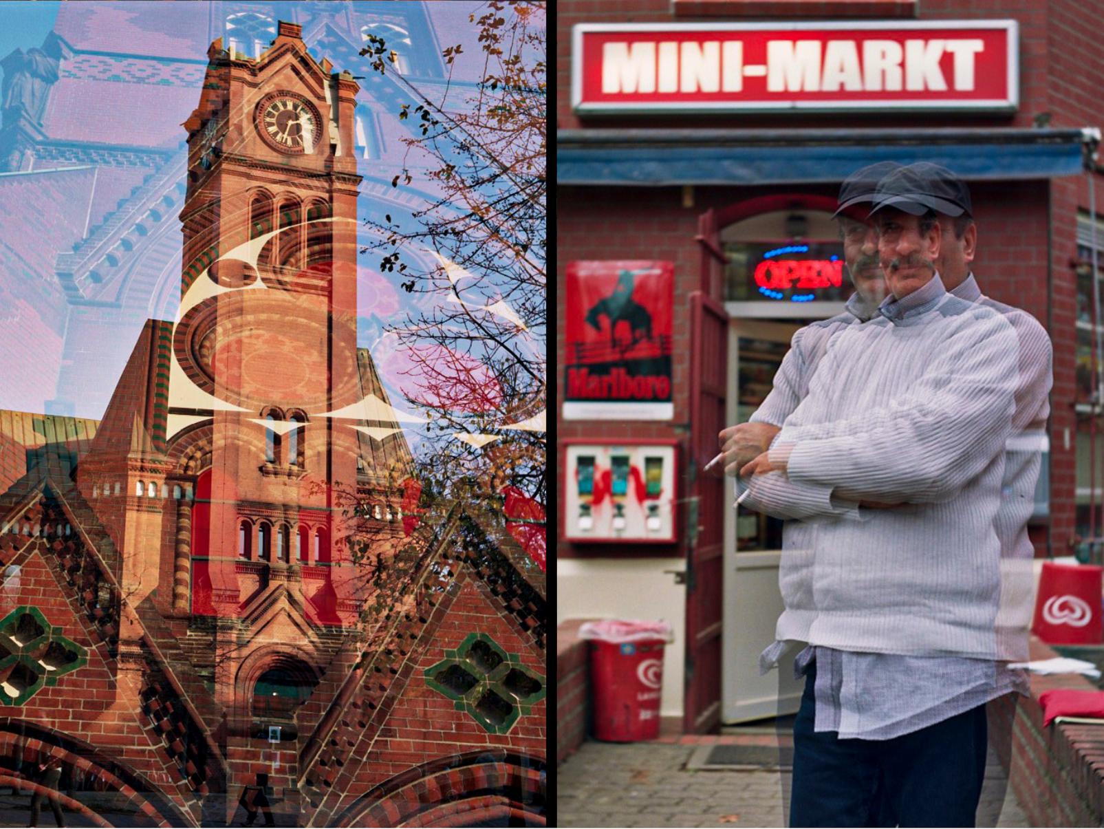 Die Apostelkirche und der Mini-Markt analog fotografiert.