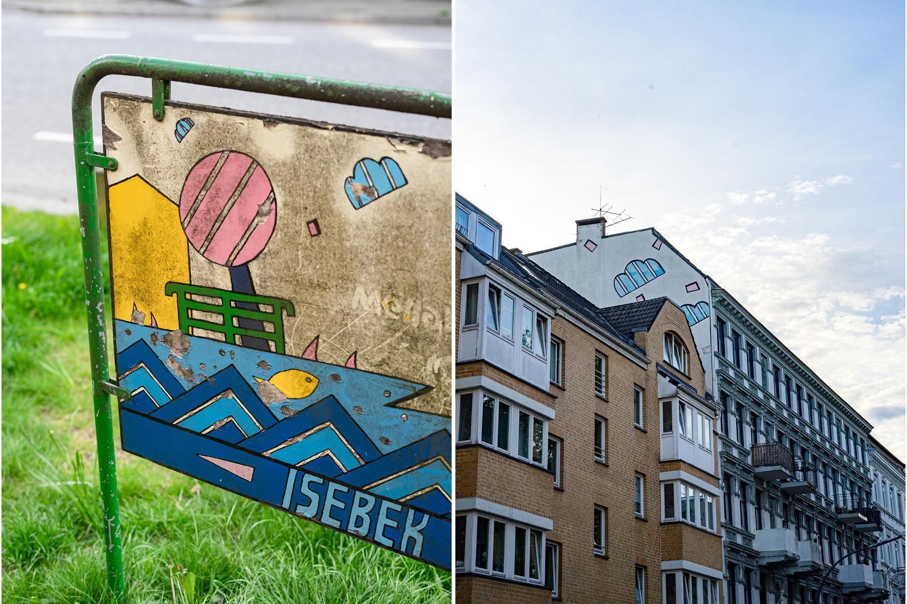 Hier floss die Isebek: Schild in der Eimsbütteler Straße Ecke Bellealliancestraße und Wandmalerei in der Vereinsstraße. Foto: Maya Habryka
