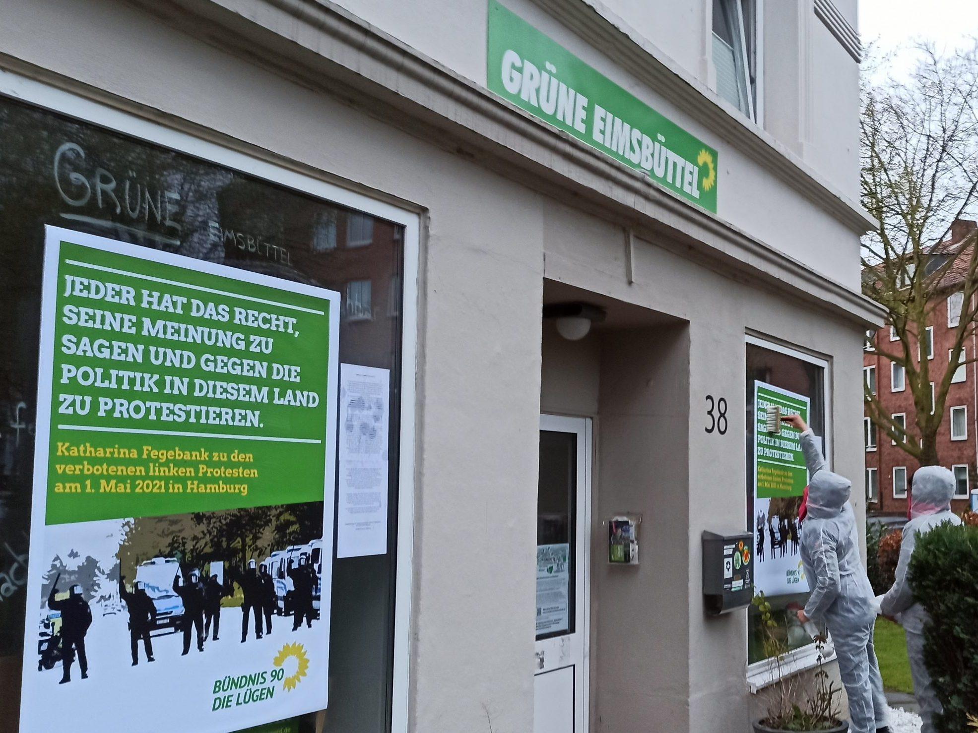 GROW Hamburg Protest Grünen Büro Linke Aktivisten