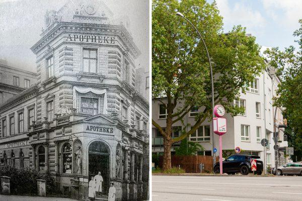 Fruchtallee Ecke Vereinsstraße im Wandel der Zeit